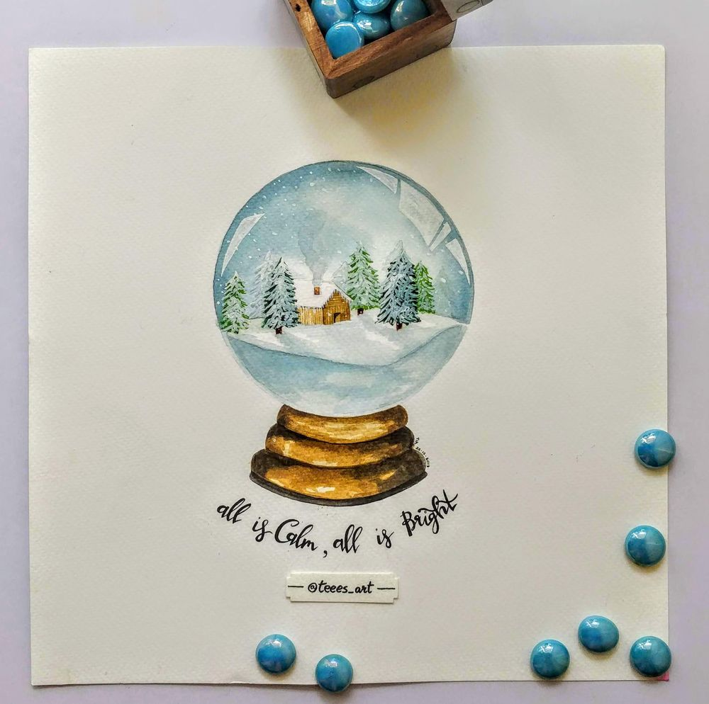 Snow Globes with Hand Lettering - image 2 - student project