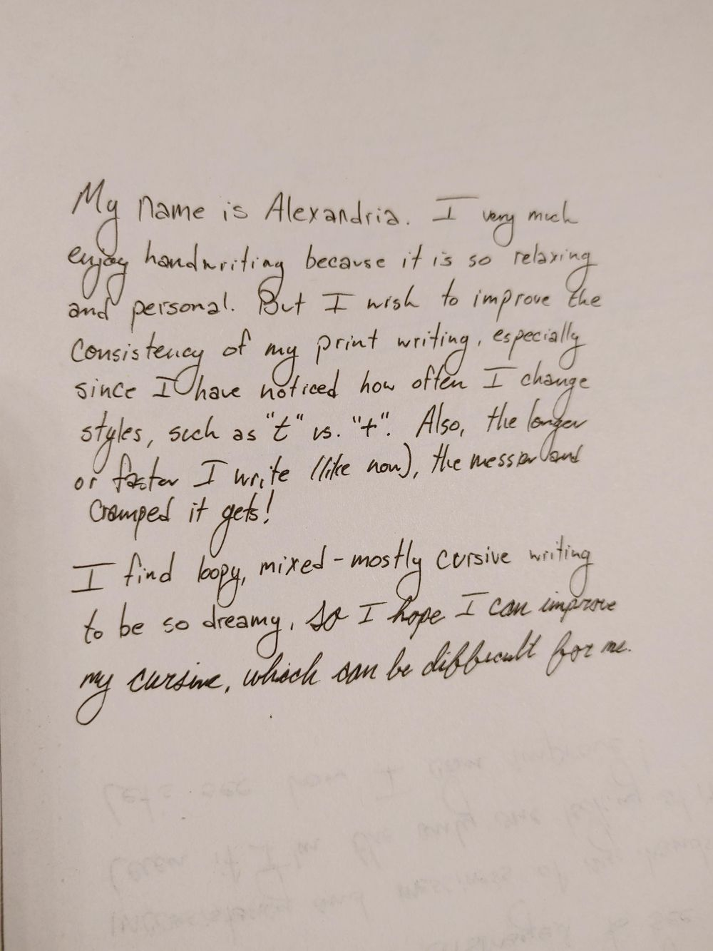 """""""Before"""" handwriting sample - image 1 - student project"""