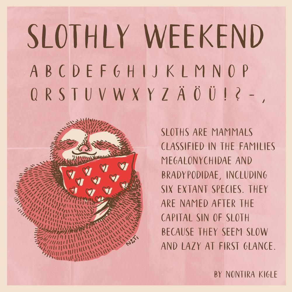 My own new font – slothly weekend - image 1 - student project