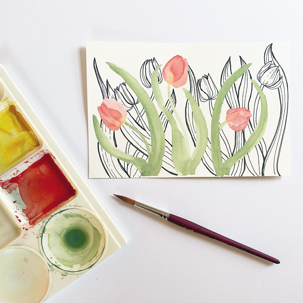 Watercolor and Pen Tulips -- Example Sketch - image 1 - student project