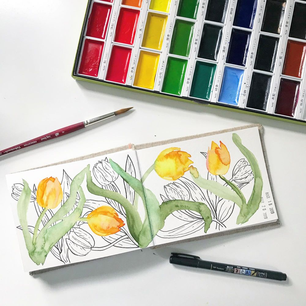 Watercolor and Pen Tulips -- Example Sketch - image 2 - student project