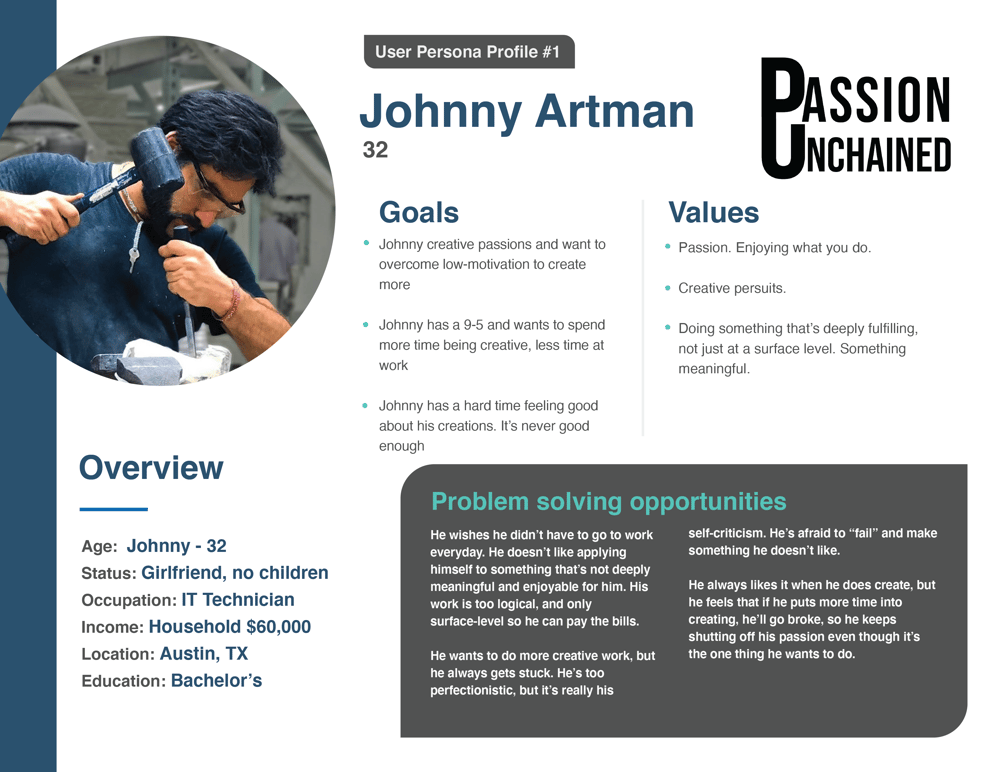 User Persona - Passion Unchained - image 1 - student project