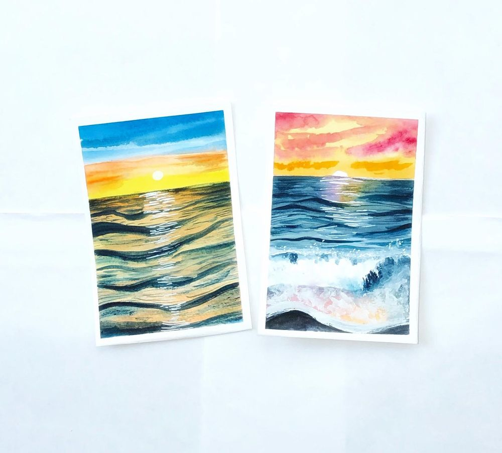Watercolor sunset seascape - image 1 - student project