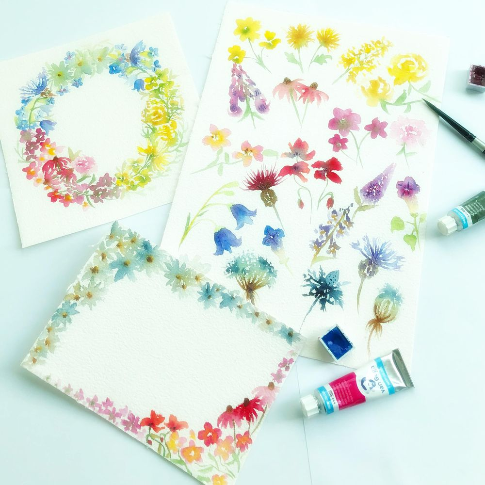Watercolor Wildflowers - image 1 - student project