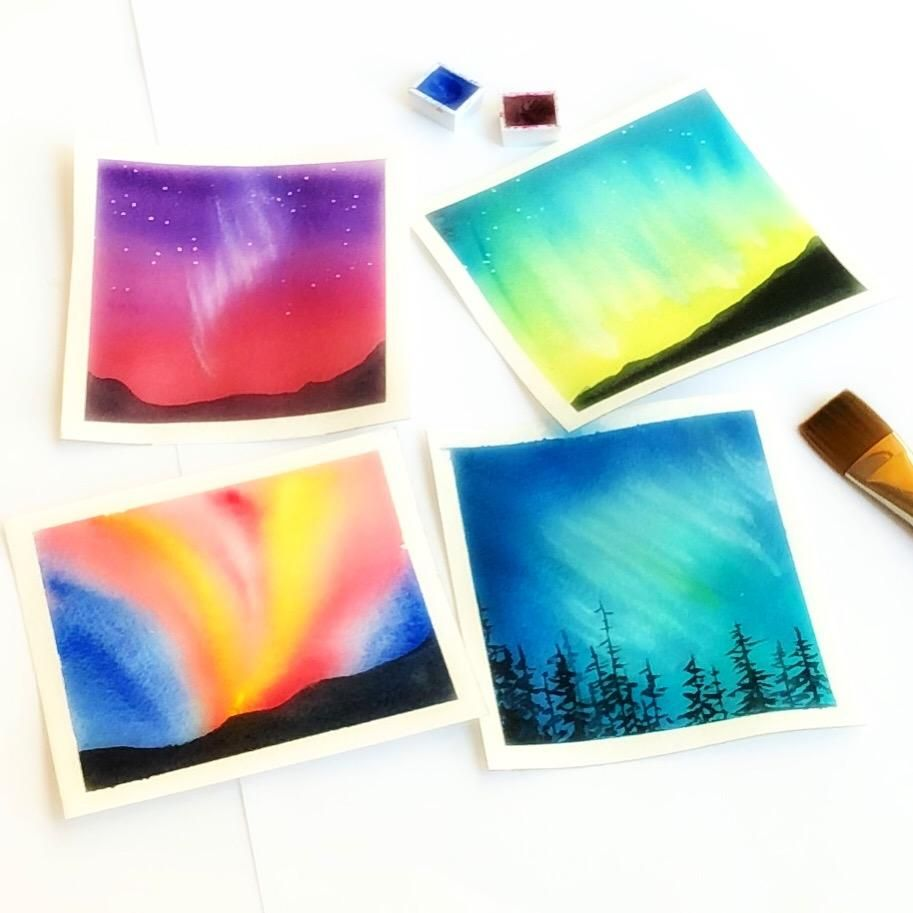 Northern lights in watercolor - image 1 - student project