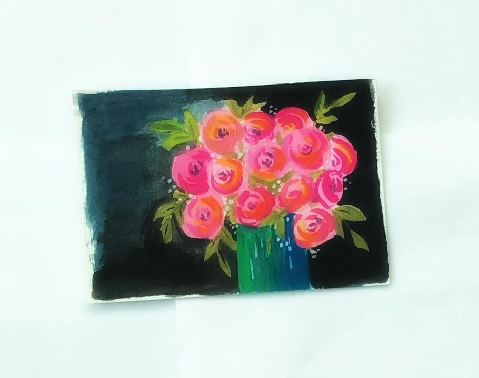 Dramatic bouquet in gouache - image 1 - student project