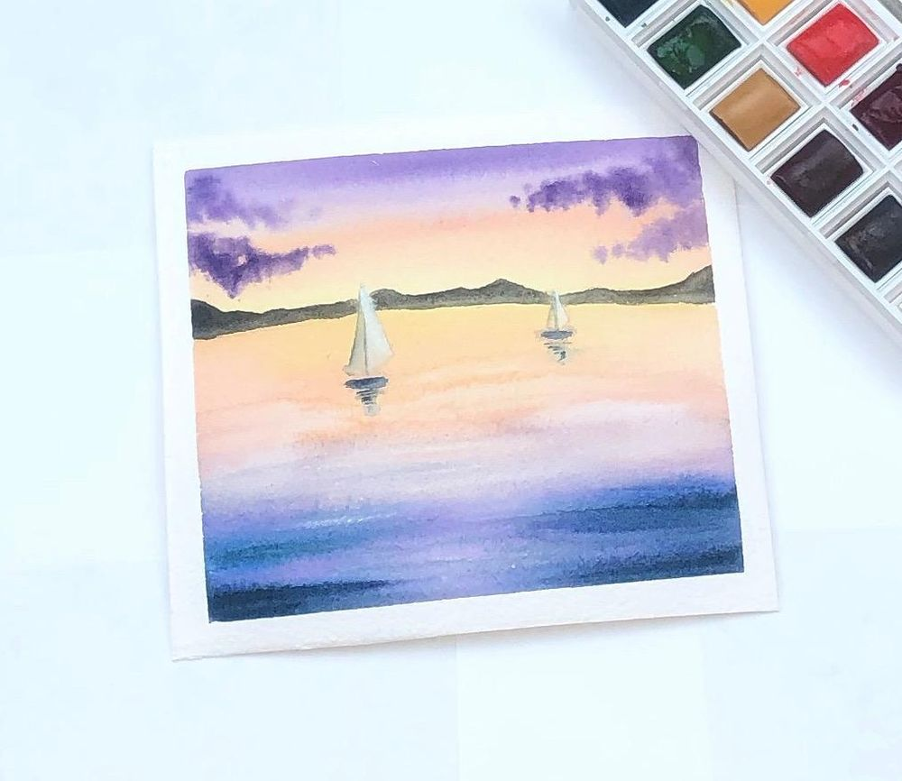 Watercolor landscape - image 1 - student project