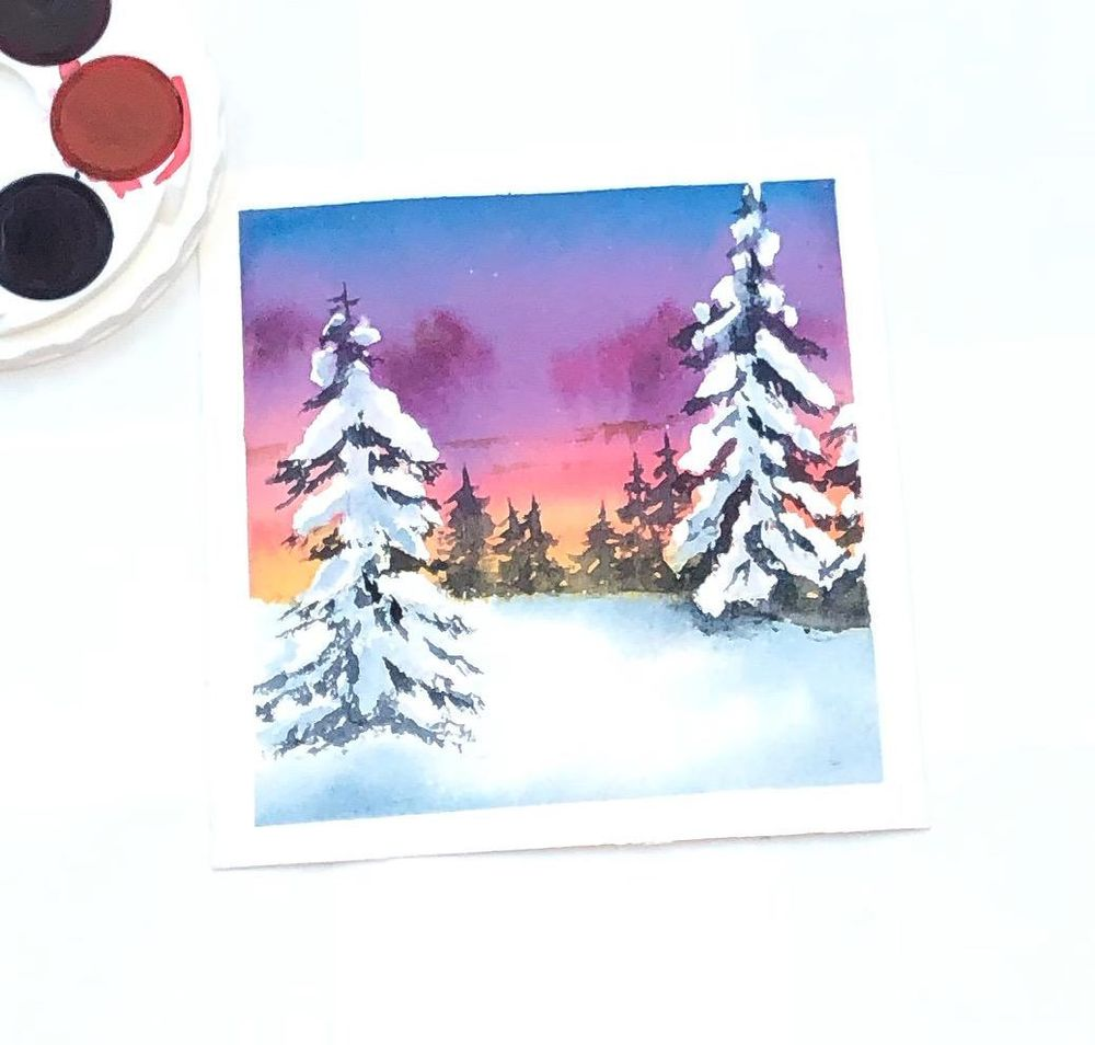 Winter pines in watercolor - image 1 - student project
