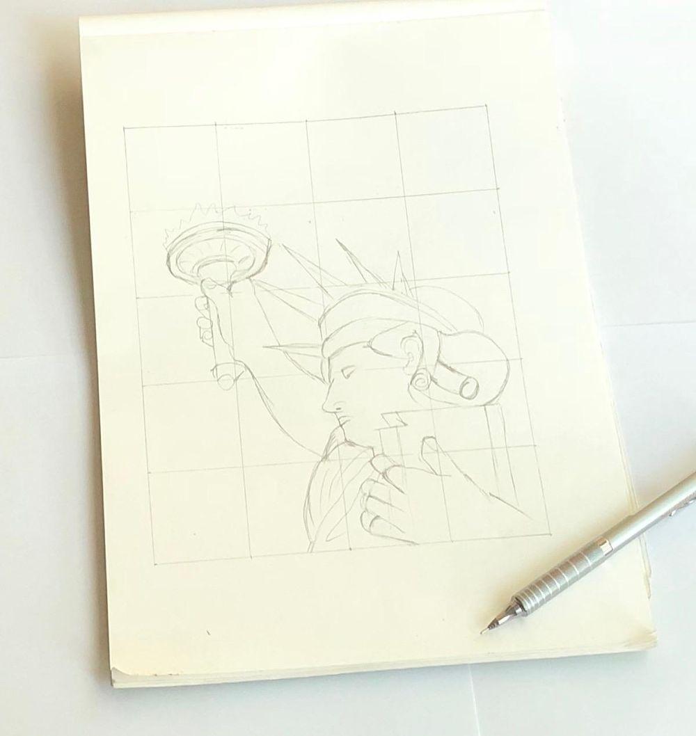 Statue drawing - image 1 - student project