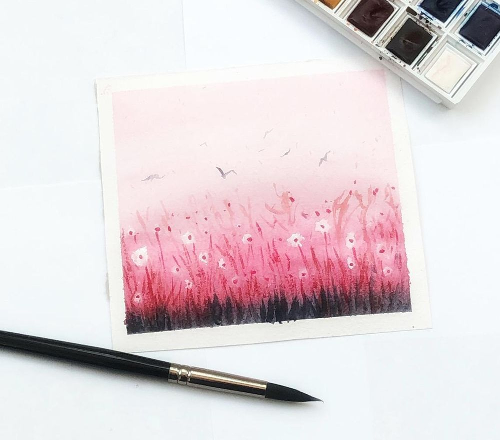Watercolor meadow - image 1 - student project