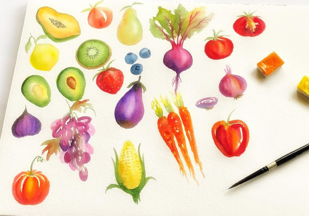 Loose watercolor Fruits and Vegetables - image 1 - student project
