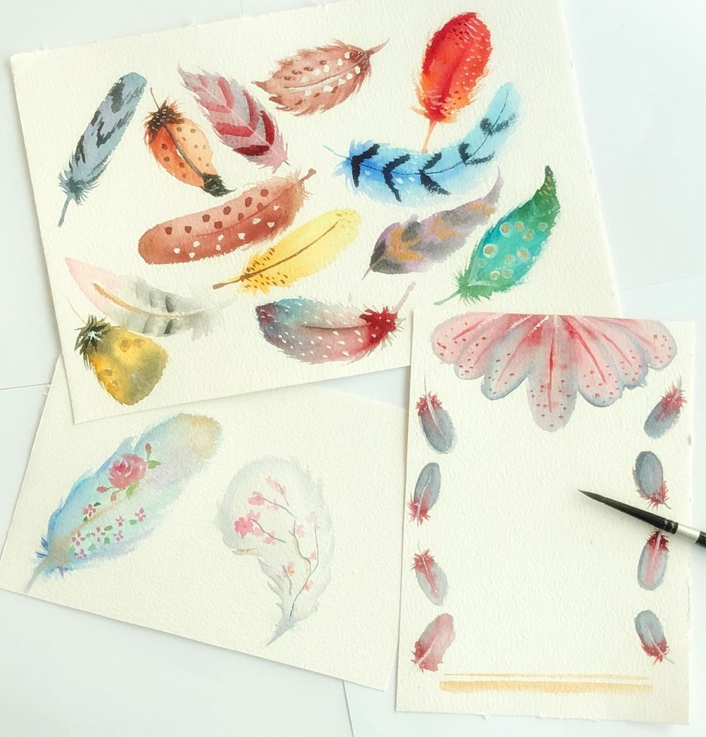 Watercolor Feathers - image 1 - student project