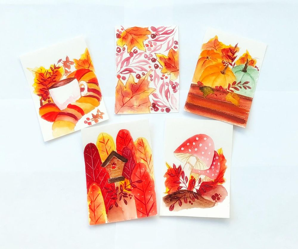 Watercolor autumn postcards - image 1 - student project