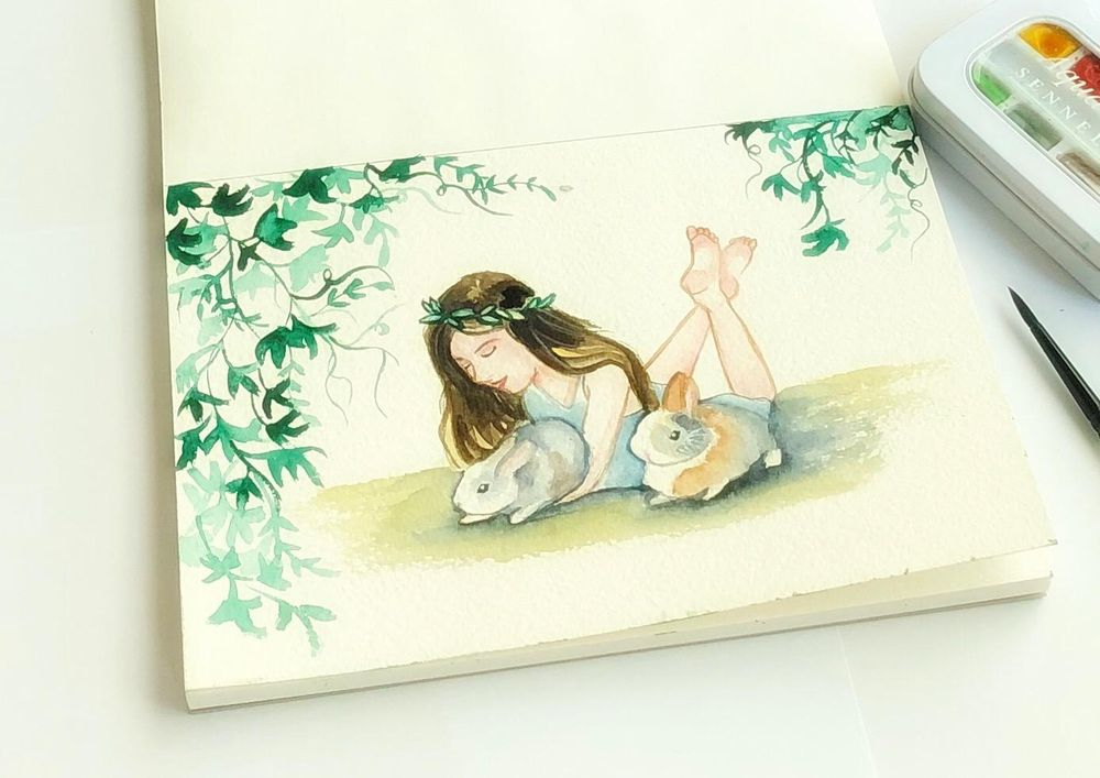 Watercolor bunnies - image 1 - student project