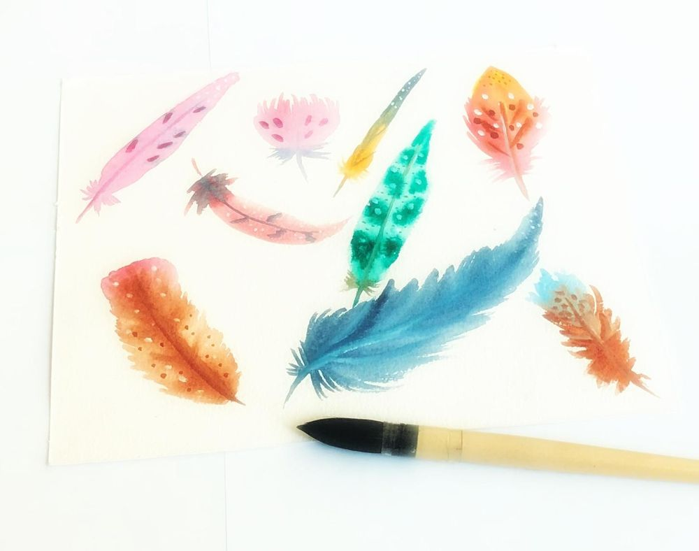 Watercolor feathers with one brush - image 1 - student project