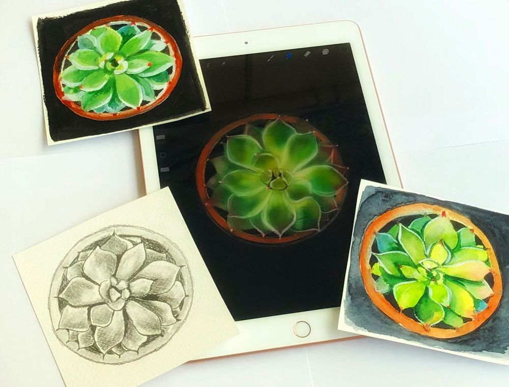 Pencil drawing, watercolor, acrylic & digital media - image 1 - student project