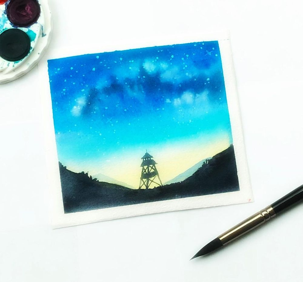 Watercolor Milky Way - image 1 - student project