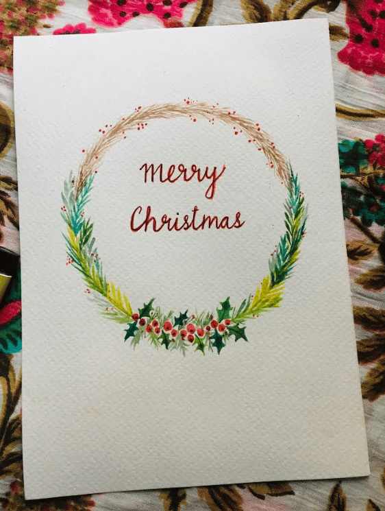 christmas wreath in watercolor - image 2 - student project