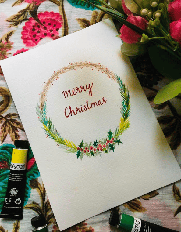 christmas wreath in watercolor - image 1 - student project