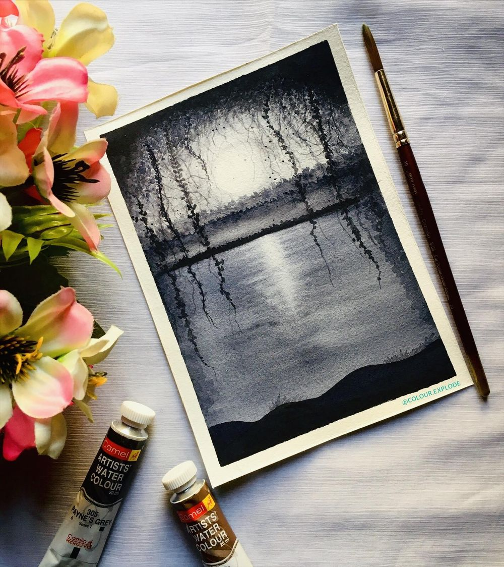 watercolour nightscape painting - image 1 - student project