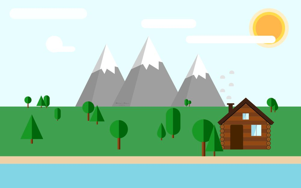 Flat Design Landscape in Affinity Designer - image 1 - student project