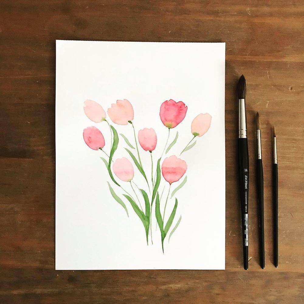 Watercolor tulips and hyacinth - image 1 - student project