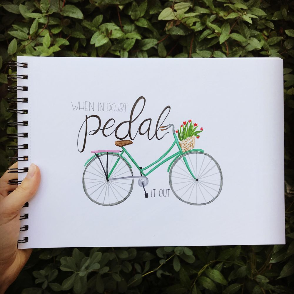 Watercolor bicycle with flower basket - image 1 - student project