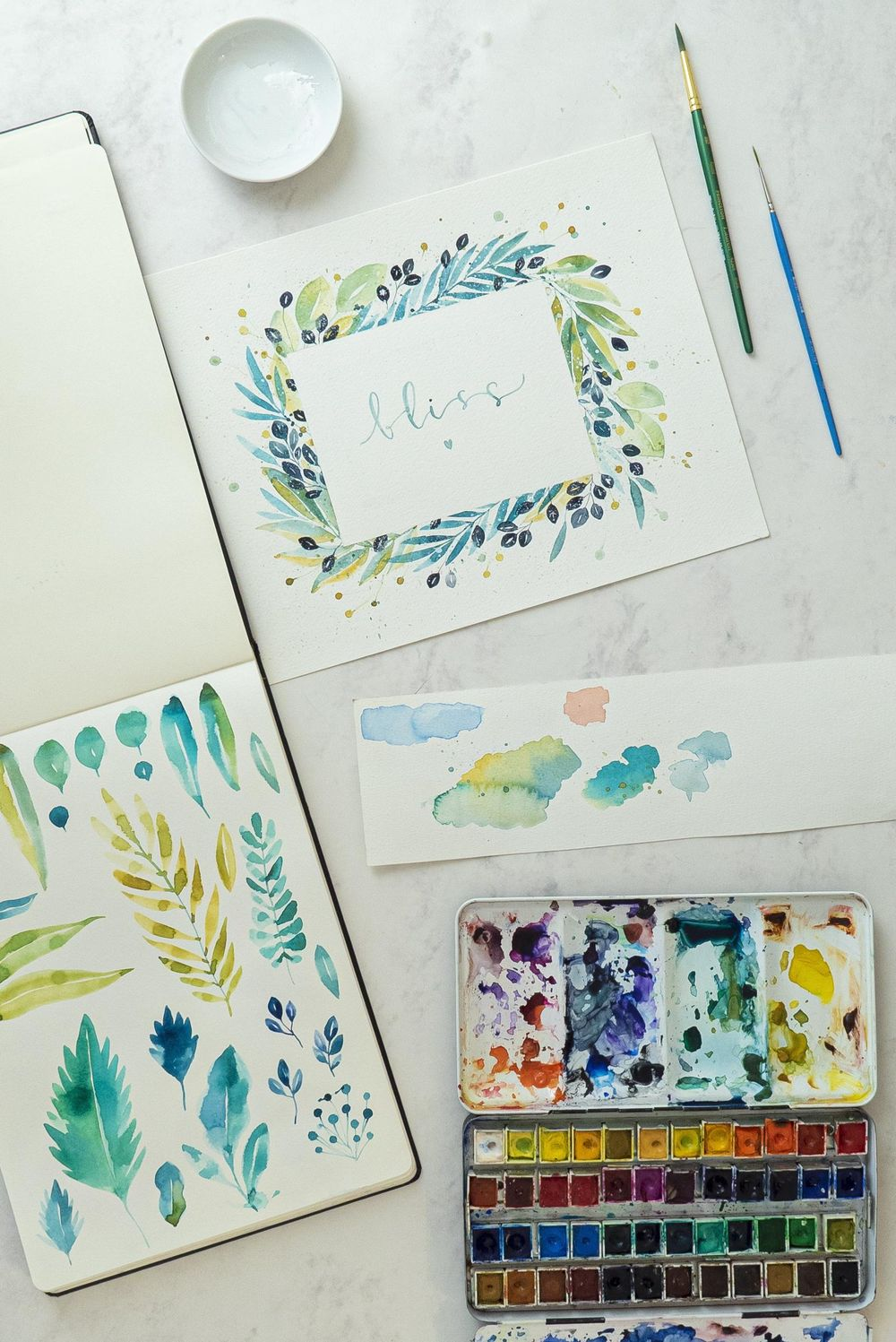 Loose Watercolor Botanical Frame - image 2 - student project