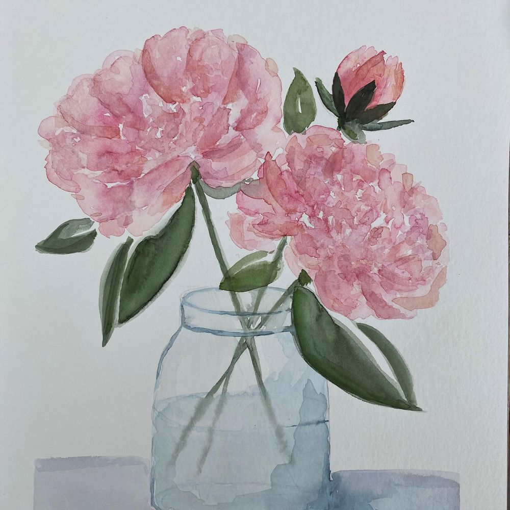 Peonies in a vase - image 1 - student project