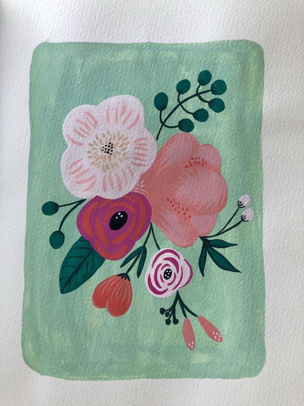 Gouache florals - image 1 - student project