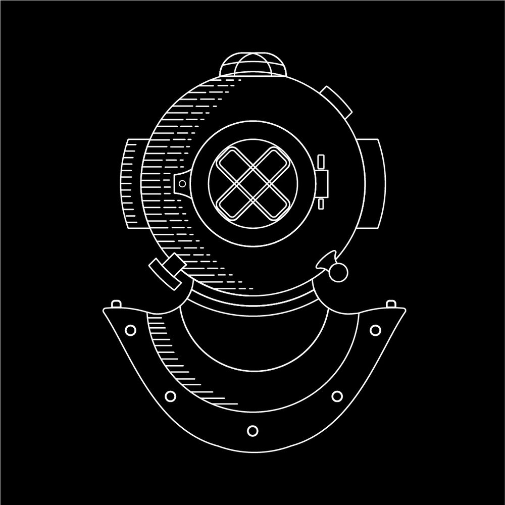 Diver Helmet Monoline Illustration - image 2 - student project