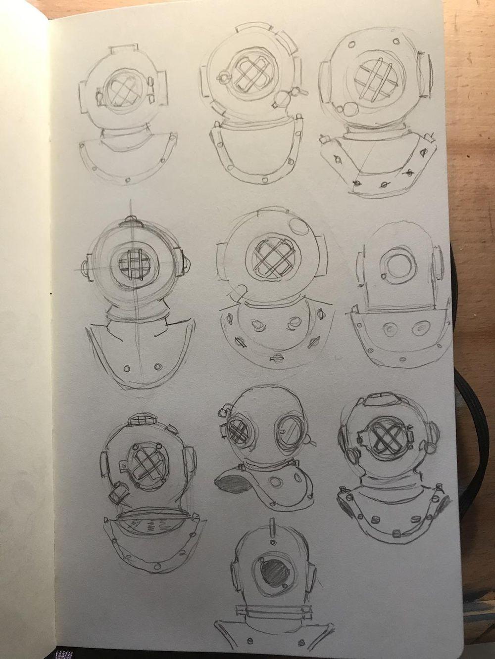 Diver Helmet Monoline Illustration - image 4 - student project