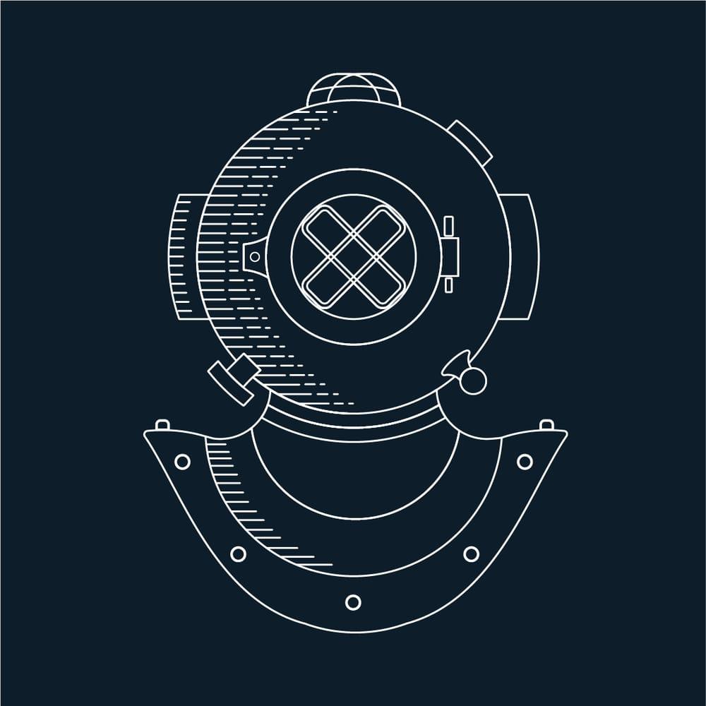 Diver Helmet Monoline Illustration - image 1 - student project