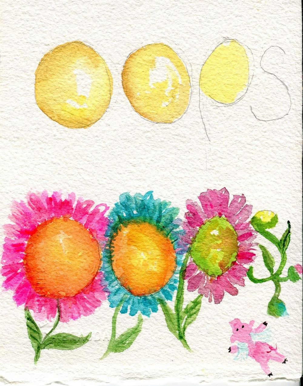 Flower centers shouldn't look like egg yolks... a  flying pig camouflages a spot  - image 1 - student project
