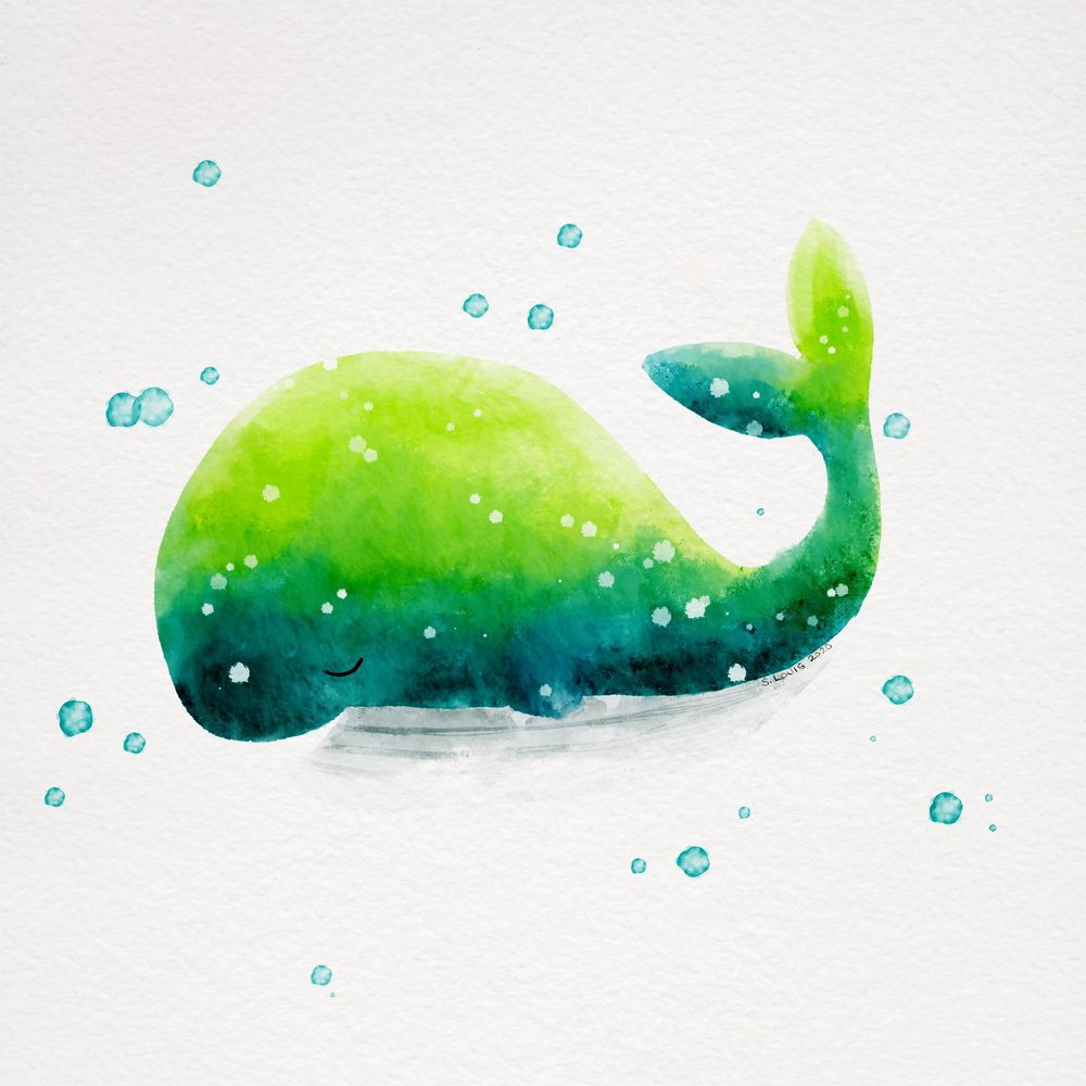Happy Whale Watercolor Tutorial - image 2 - student project