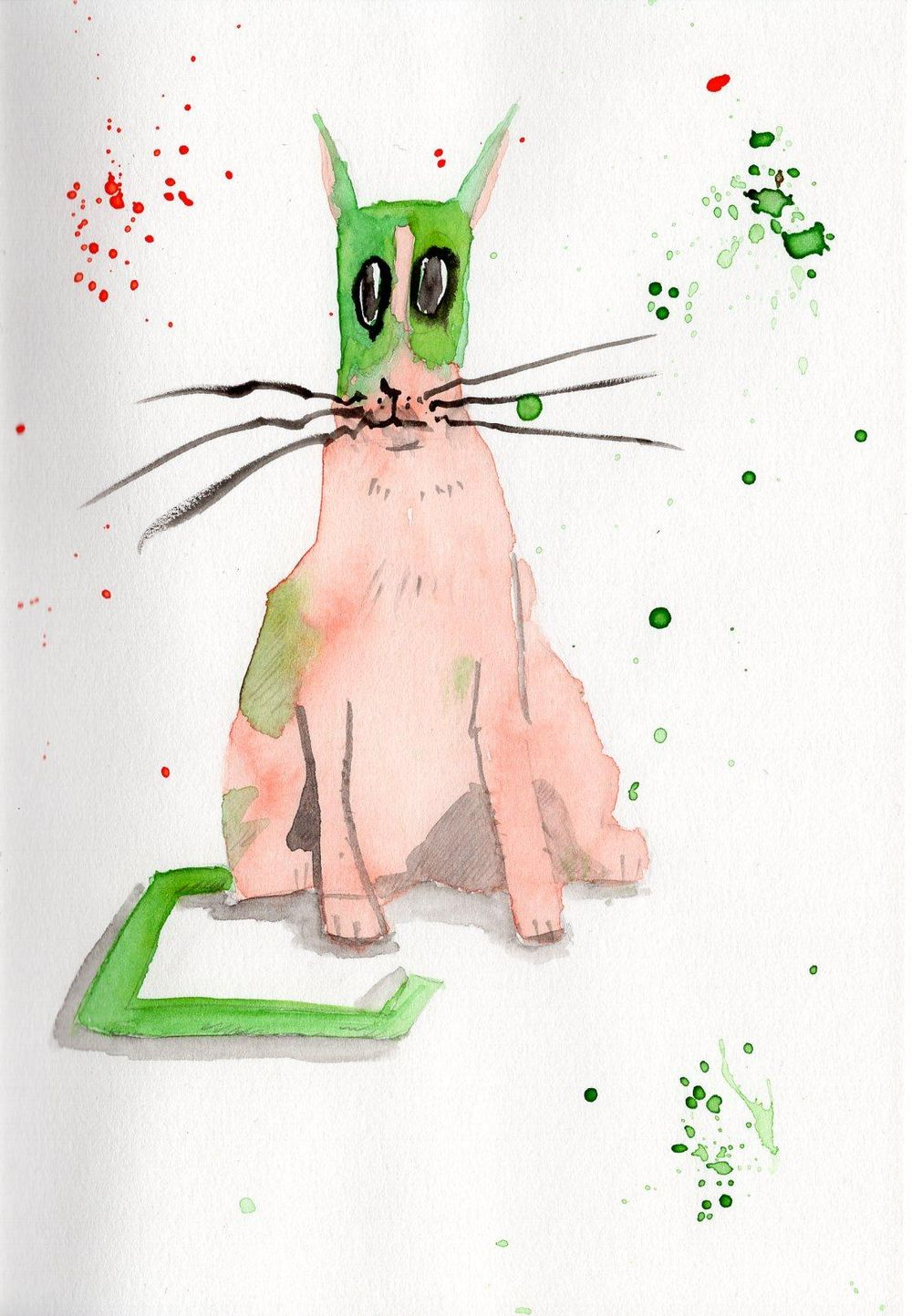 Fun with cats, ink & watercolor - image 4 - student project