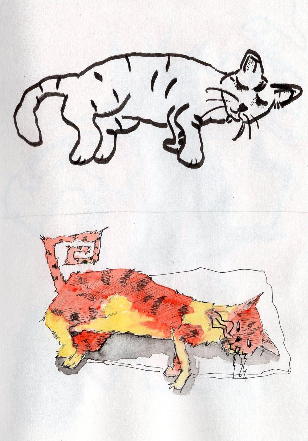 Fun with cats, ink & watercolor - image 2 - student project