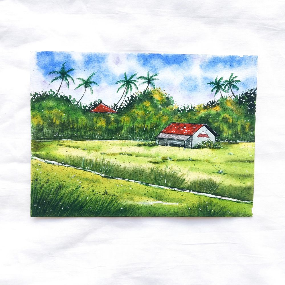 Green watercolor landscape - image 2 - student project
