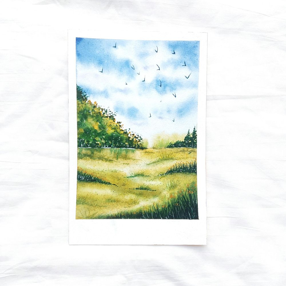 Green watercolor landscape - image 1 - student project