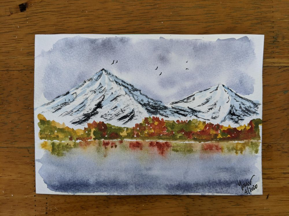 Mountain and water reflections - image 1 - student project