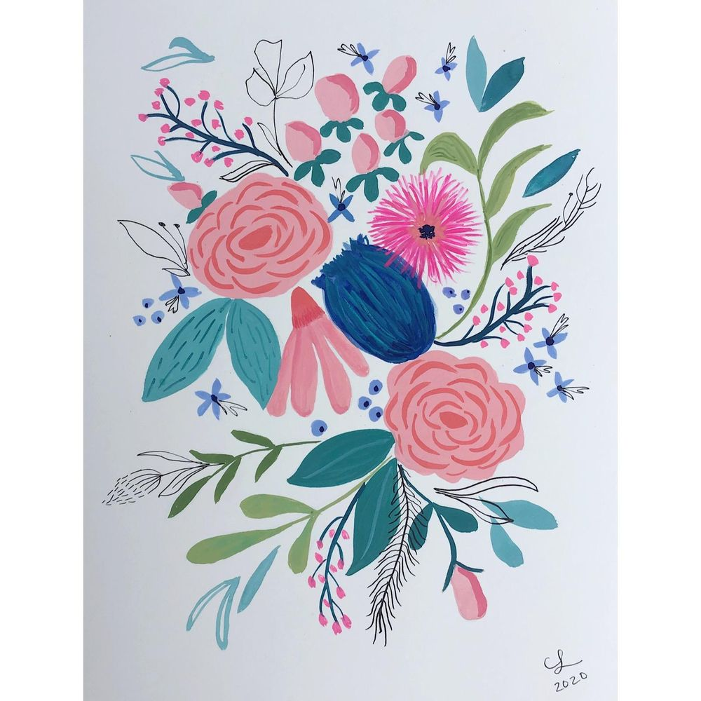 Gouache and Ink Florals - image 1 - student project