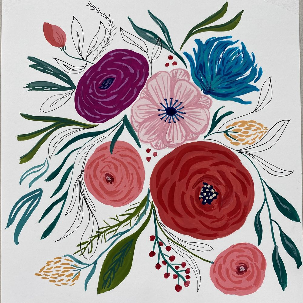 Gouache and Ink Florals - image 2 - student project