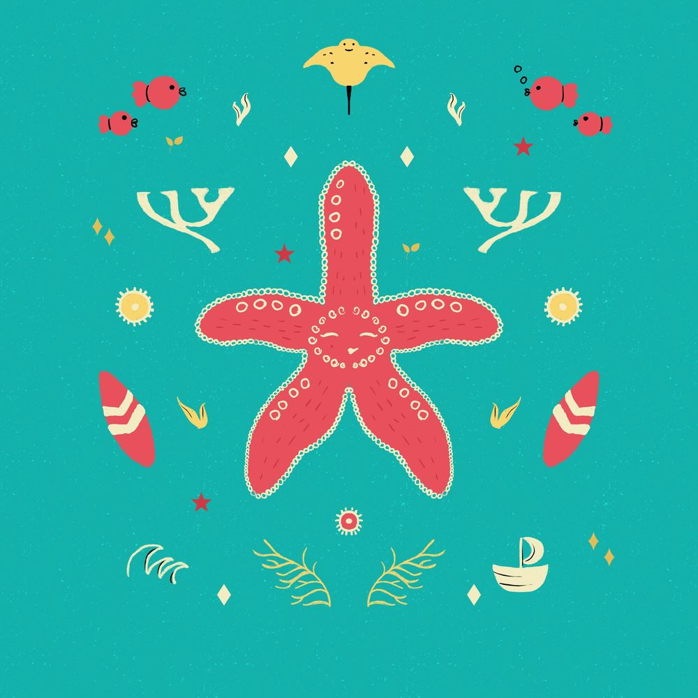 Fun symmetry starfish, red panda and crab - image 1 - student project