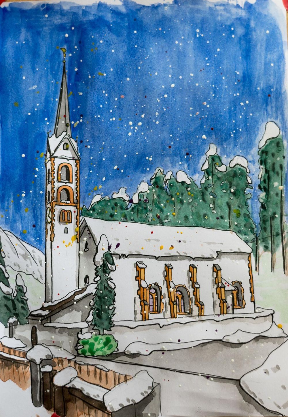 Church in La Punt, Swiss and my grandparents house in Münster, Germany - image 1 - student project