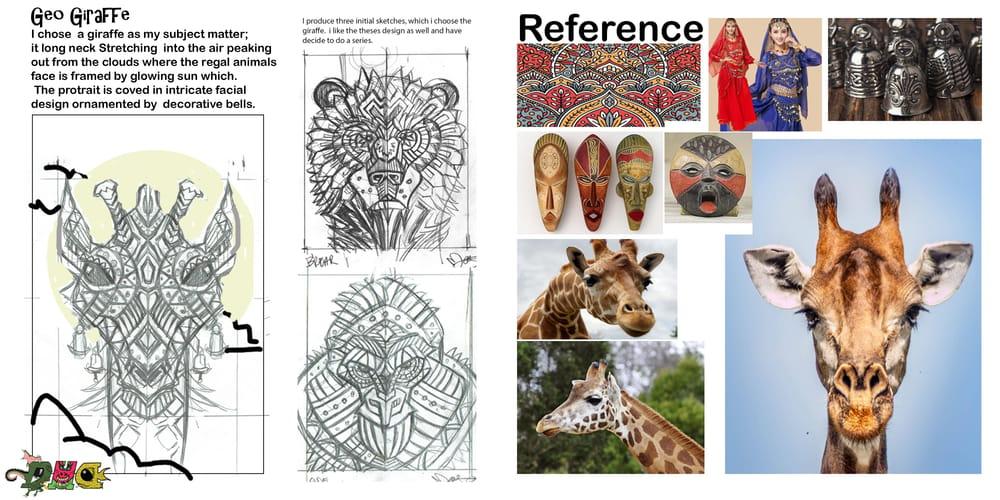 Giraffe geometric animal portrairt. - image 1 - student project