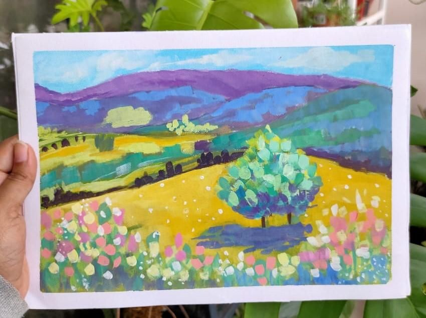 Abstract gouache landscape - image 1 - student project