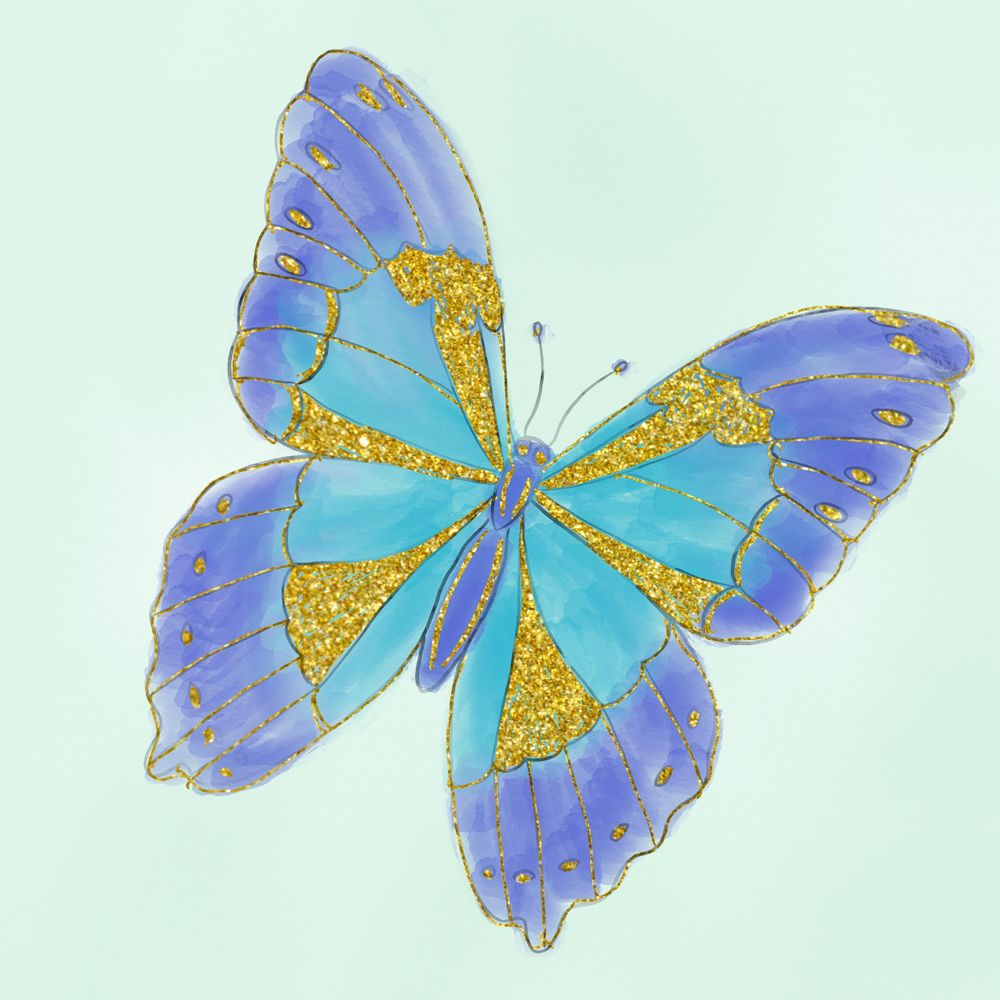 Watercolor and Glitter Butterfly - image 1 - student project