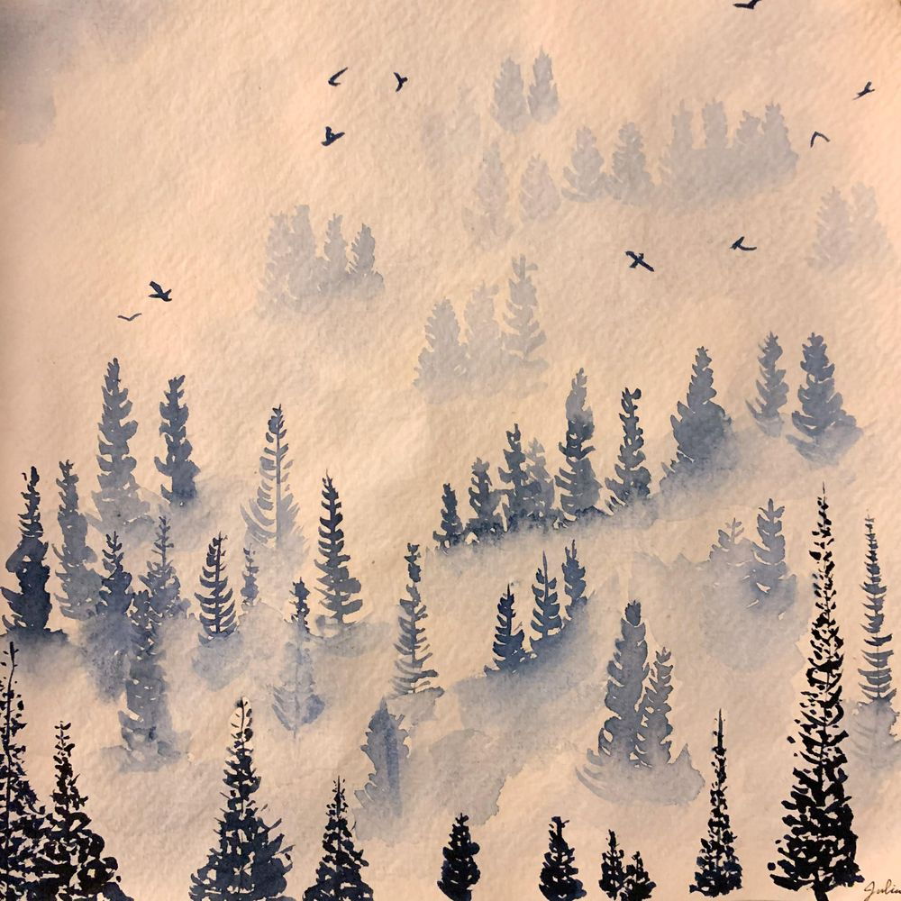 Misty Pines in Sennelier Indigo - image 2 - student project