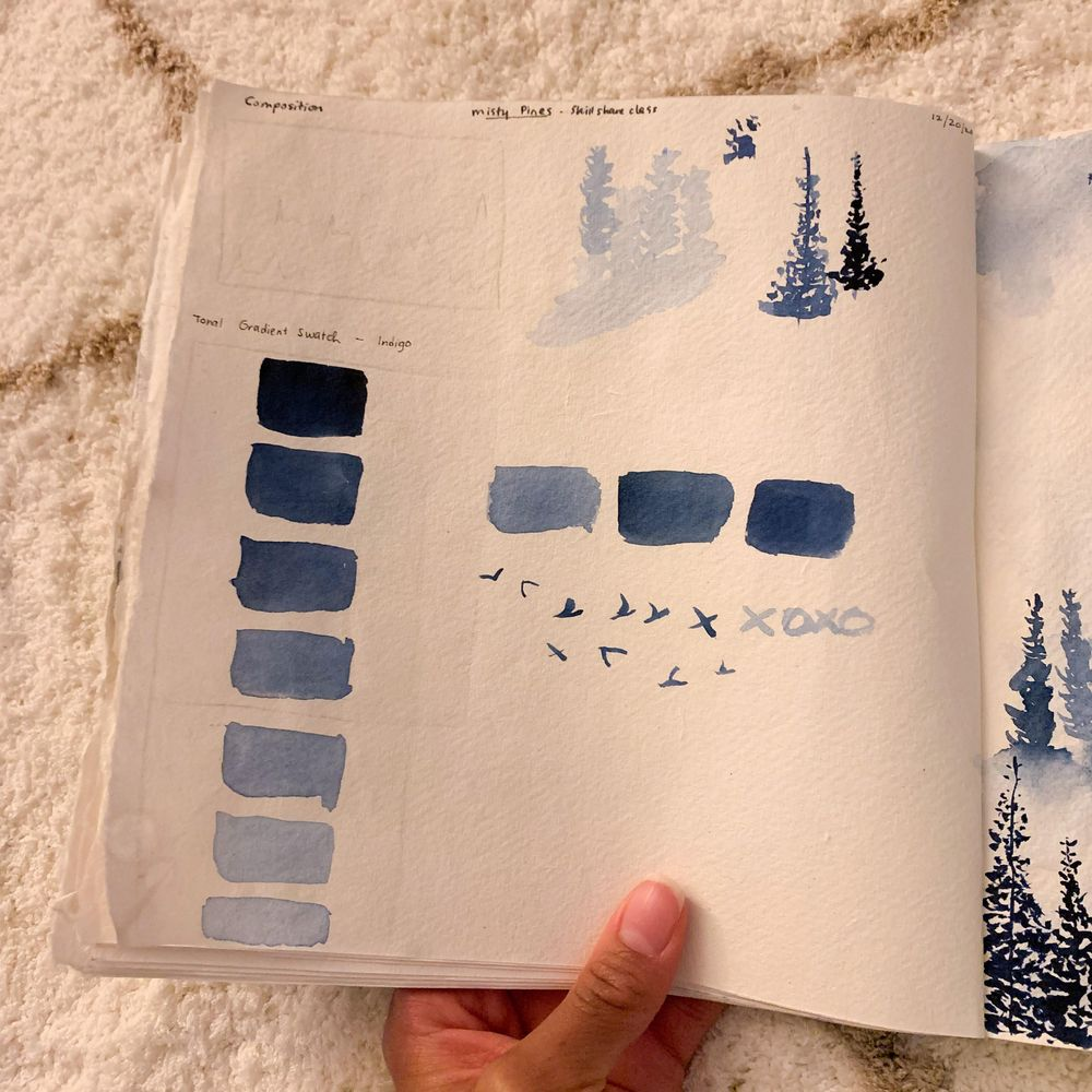 Misty Pines in Sennelier Indigo - image 1 - student project