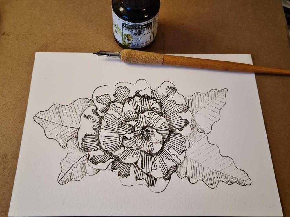 Dip-pen flower - image 1 - student project